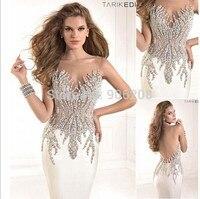 Sexy Transparent Back vestido festa formatura Top Quality Mermaid Handmade Beaded Crystal Evening Dress Party Dresses