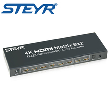STEYR UHD HDMI True Matrix 6x2,6 in 2 out HDMI Switch Splitter HDMI 1.4V Matrix support 3D 4Kx2K,HDCP with SPDIF,3.5mm Audio