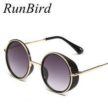 Cyber runbird new 2016 mujeres steampunk goggles espejo lateral de la lente gafas de sol de Los Hombres Gafas de Sol Redondas Retro Gafas De sol Hombre R012