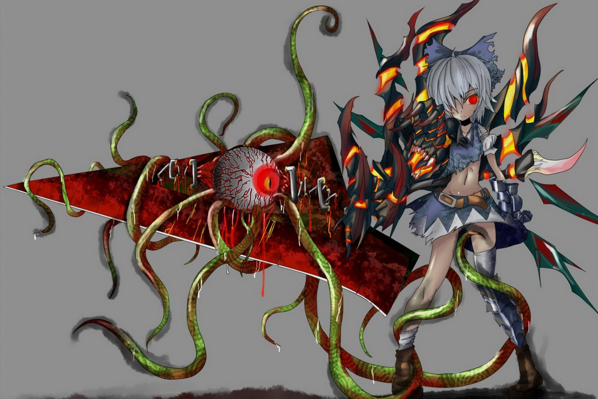 wall art fabric poster custom anime girl gray hair red eyes touhou weapon PDM247 for room decor home decoration(frame available)