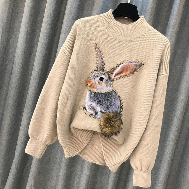 Beading Rabbit Fur Tail Sweater 4
