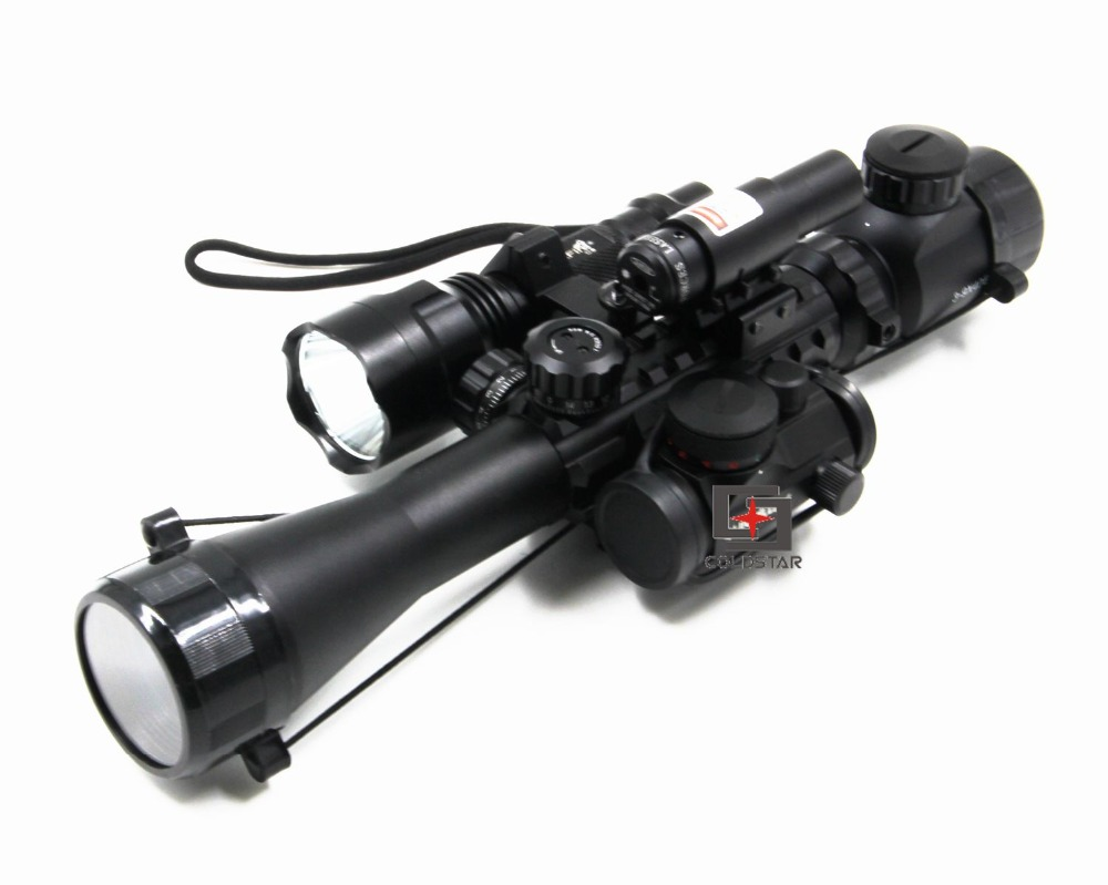 Army Compact Combo 3-9x40EG Airsoft Gun Rifle Scope + Laser Sight + T-1 Red Dot + CREE T6 LED Flashlight 5Mode C8 Torch