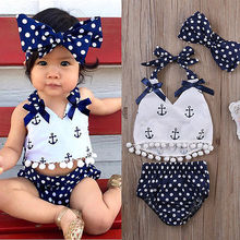 Infant Baby Girls Clothes Anchor Tops Polka Dot Briefs Outfits Set Backless Sunsuit Bodysuit
