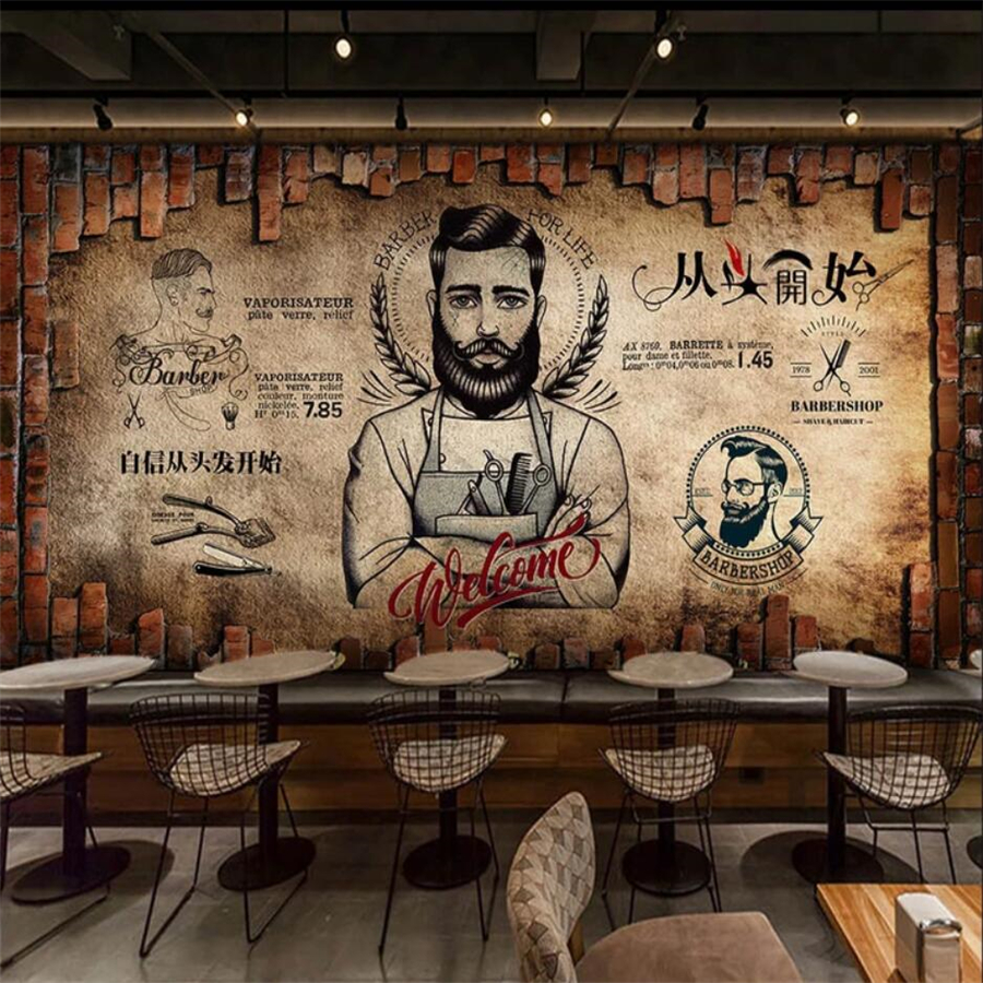 Custom Wallpaper 3d Mural Retro Barber Shop Beauty Salon Background Wall Background Painting Wall Papers Home Decor 3d Wallpaper
