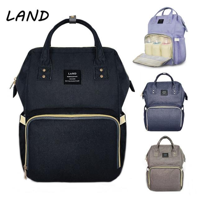 LAND Diaper Bag Baby Care Large Capacity Mom Backpack Bolsa Maternidade  Designer Mummy Maternity Nappy Bag
