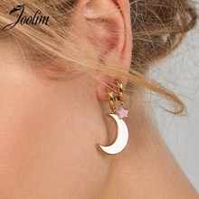 JOOLIM Jewelry Wholesale High Quality Enamel Moon Star Hoop Earring Cooper Earrring Trendy