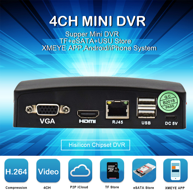 US $35 25 35% OFF|Mini AHD DVR 4 Ch Recorder HD 1080P Support SD Card Up  to128GB Real time CCTV DVR Board Video Remote control Power cable mouse-in