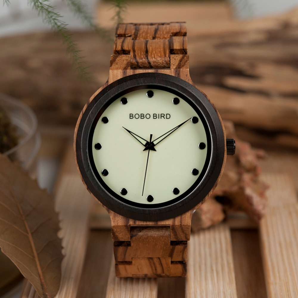 BOBO BIRD L-P04 Luminous Dial Face Men Cool Wooden Watches with Zebra Ebony Wood Strap Drop Shipping Relogio Masculino visa v04 p04 n