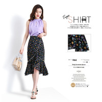 Hight waist skirts Womens Trumpet skirts 2019 Summer Chiffon prints Splicing Floral Irregular mermaid skirt Ladies Skinny skirts