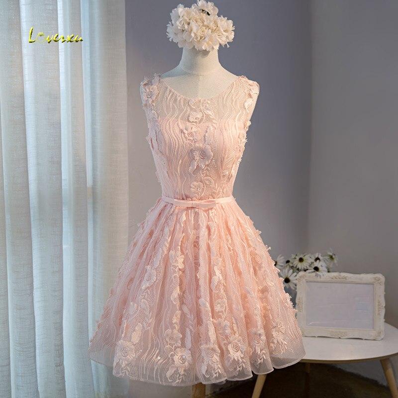 Loverxu New Arrival Fashion Scoop Neck Knee Length A Line Lace Homecoming Dresses 2107 Appliques Sashes Short Graduation Dresses