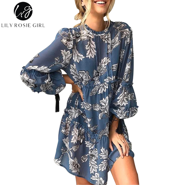 Lily Rosie Girl Women 2017 Blue Ruffles O-neck Wrist Floral Print Summer Mini Dress Loose Boho Regular Beach Dresses Vestidos