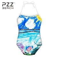 لطيف تلوين اللوحة نمط السباحة الرسن نمط طفل الفتيات الأطفال ملابس السباحة الجديدة قطعة واحدة بذلات السباحة