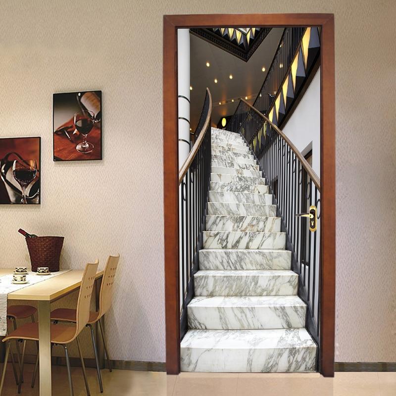 2pcs/set 3D Marble Stairs Poster Door Sticker Modern