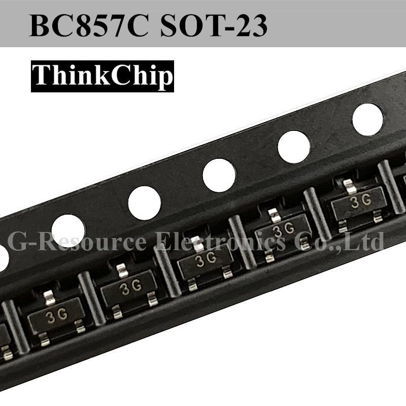 100pcs/lot BC857C BC857 SOT-23 SMD Triode PNP Signal Transistor (Marking 3G)