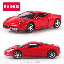 cool 14CM 4 Color Alloy Cars 1:32 F458 Super car Pull Back Diecast Model Toy with light simulation sound Gift toy For Boys Kids