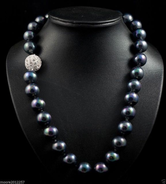 "Stunning Huge 20mm south sea black shell pearl necklace 18"">Dongguan girl Store free shipping"
