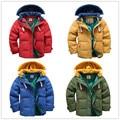 Высокое качество 4-10Yrs Корейских Мальчиков Синие зимние пальто и Куртки для детей Повседневная куртки Мальчиков толщиной Зимняя куртка 4 Цвет Мальчик зимнее Пальто