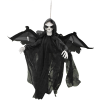 Halloween Scary Party Scene Light Up Eyes Hanging Black Face Ghost Haunted House Escape Horror Props