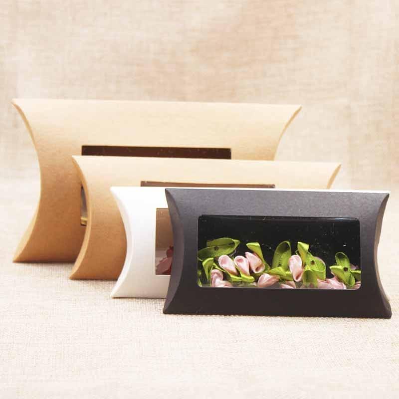DIY Blank Paper Gift Box .Mutli Size Pillow Gift Box With Clear Pvc Window,kraft/white/black Paper Window Box For Gift 10pcs
