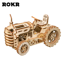 ROKR DIY Mechanical Gear Drive Tractor Model Building Kit 3D Wooden Puzzle Assembly Toys for Kids Drop Shipping LK401 rokr diy 3d wooden puzzle train model clockwork gear drive locomotive assembly model building kit toys for children adult lk701