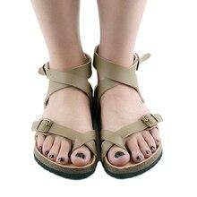 Лето 2017 г. любителей моды унисекс Женские босоножки Туфли без каблуков из пробки Пляжные римские сандалии Chaussons Zapatos Mujer sandalias плюс Размеры 45