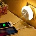 Горячая! Смарт-дизайна из светодиодов ночник с датчиком освещенности и двойной USB пластины зарядное устройство для ванных комнат бутик-номера luz de la noche LN002