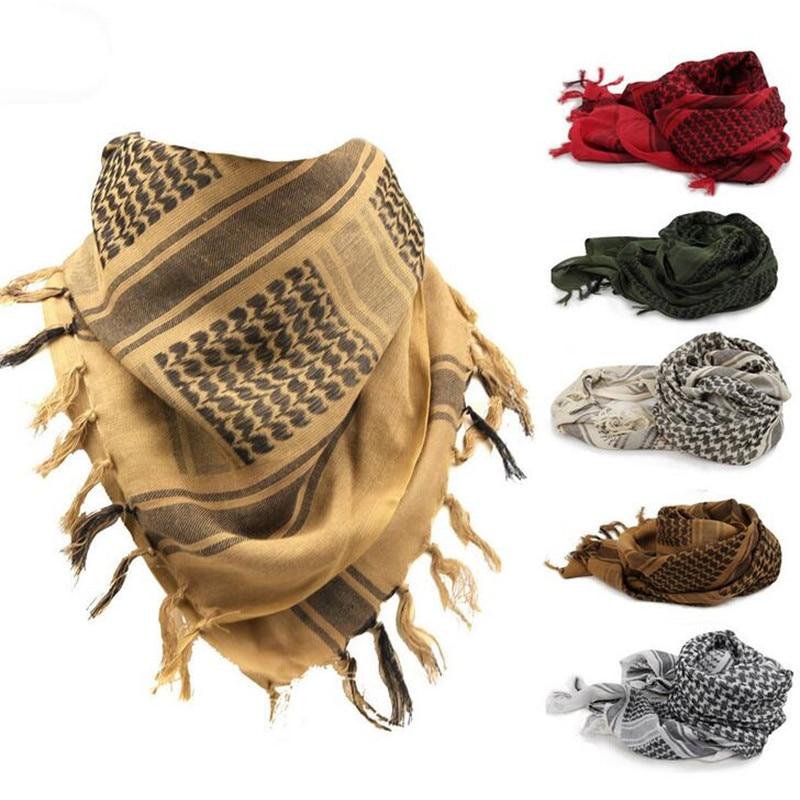 100% kokvilnas arābu Keffiyeh Shemagh šalle Militārās taktiskās šalles sabiezētas Hijab kvadrātveida vēja necaurlaidīgas bandanas 2016 kempinga šalle