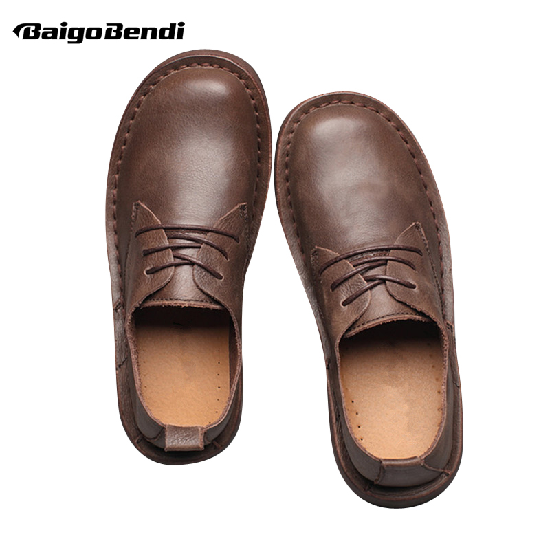 Recommend ! Men Retro Round Toe Four Season Casual Shoes Leisure Man Full Grain Leather Shoes Lace Up Soft Oxfords