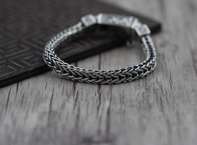 925 bijoux en argent sterling faire faire vieillard caractère ancre bracelet grain rétro bracelet Thai argent