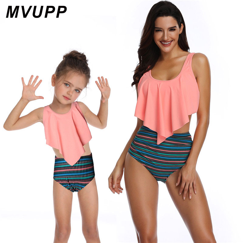 Mother Daughter Family Look Clothes For Mommy And Me Swimsuit Pink Striped Swimwear Matching Outfits High Waist Bikini Mom Baby