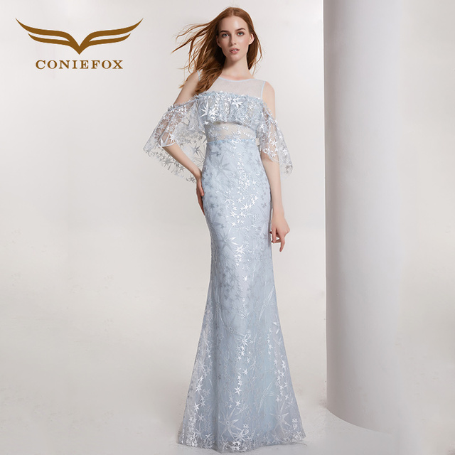 a6d77d10dabc73 CONIEFOX 32129 Pailletten mermaid Backless reizvolle Damen Retro eleganz  Appliques prom kleider party abendkleid kleid lang