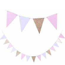 1pc 10ft Glitter Gold Pink White Hanging Bunting Banner Party Decoration Baby Shower Birthday Events Wedding