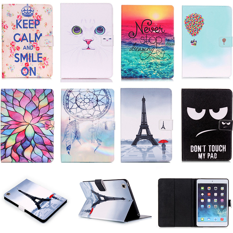 все цены на For Apple iPad mini 1 2 3 Case Fashion Pattern PU Leather Flip Case For iPad mini2 mini3 7.9'' Smart Tablet Stand With Card Slot онлайн