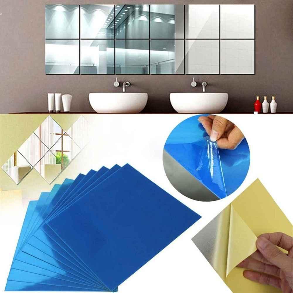 16pcs Set Mirror Tile Wall Sticker Square Self Adhesive Bathroom Decor Sticks Home Garden Decor Decals Stickers Vinyl Art