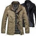 2016 новые зимние мужские случайные куртка мужчины длинный участок тонкий слой XL мужские куртки прилив