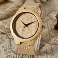 Creative Men Analog Rhombus Carving Hot Bamboo Genuine Leather Band Strap Nature Wood Wrist Watch Modern