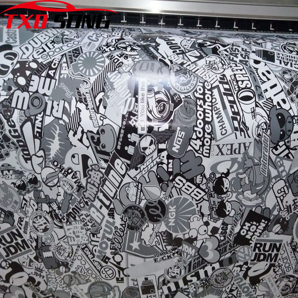 NEW ARRIVAL 10/20/30/40/50/60X152CM HOT CARTOON GRAFFITI CAR STICKER BOMB WRAP SHEET DECAL VINYL DIY STICKERBOMB VINYL FILM