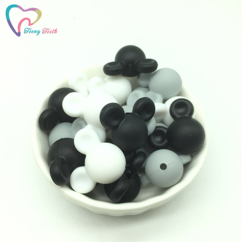 Teeny Teeth 10 Pcs Marble White Chewable Bpa Free Rose Silicone Beads For Jewelry Loose Baby Teether Diy Silicone Sensory Toys Non-Ironing Jewelry & Accessories