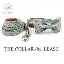 Dog Collar and Leash Set with Bow Tie Pretty Rose Floral Metal Buckle Big and Small Dog&Cat Collar and Dog Leash Pet Accessories