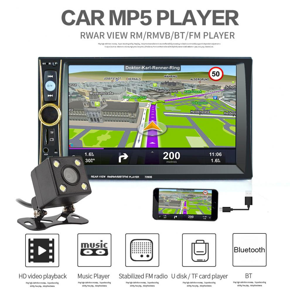 6.6'' 2 Din MP5 Car Stereo Player Phone / Tablet Connected GPS Bluetooth FM DVR in Steering Wheel Control with Rear View Camera autoradio car radio multimedia mp5 mp4 player 2 din bluetooth stereo fm in steering wheel control for android screen mirroring