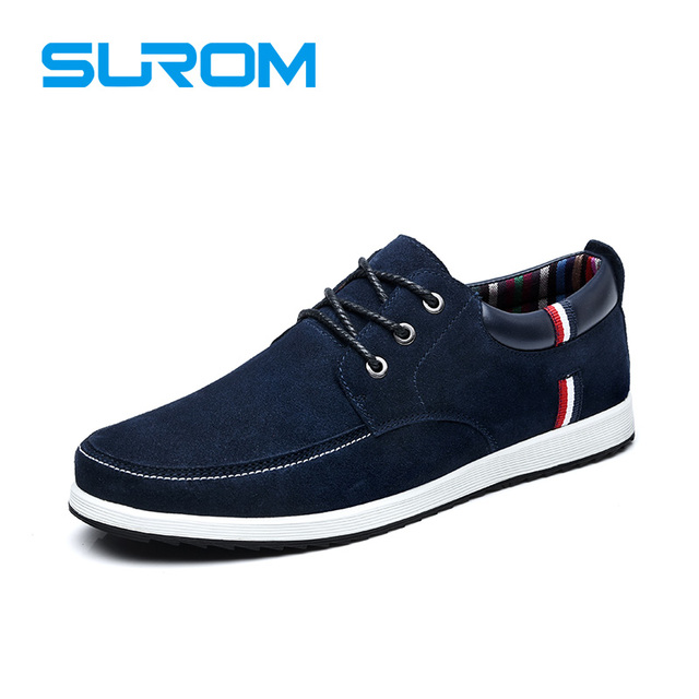 SUROM Brand High Quality Cow Suede Men's Leather Casual Shoes Loafers Men