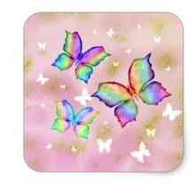 Квадратный стикер с радужными бабочками 15 дюйма