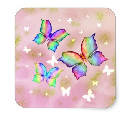 1 5inch Rainbow butterflies square sticker in Stationery Stickers from Office School Supplies