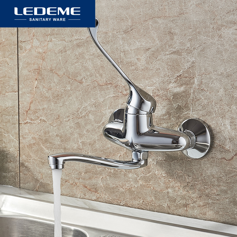 LEDEME Brass Chrome Taps For Kitchen Faucet Sink Tap Dual Hole Wall Kitchen Mixer Kitchen Faucets Torneira Cozinha L4679