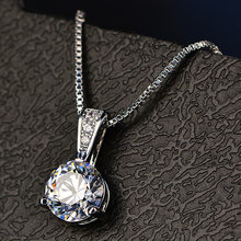 Mochai Female Single Zircon Necklace Silver Color Necklace Women Rhinestone Choker Necklaces Collier Femme ZK80(China)