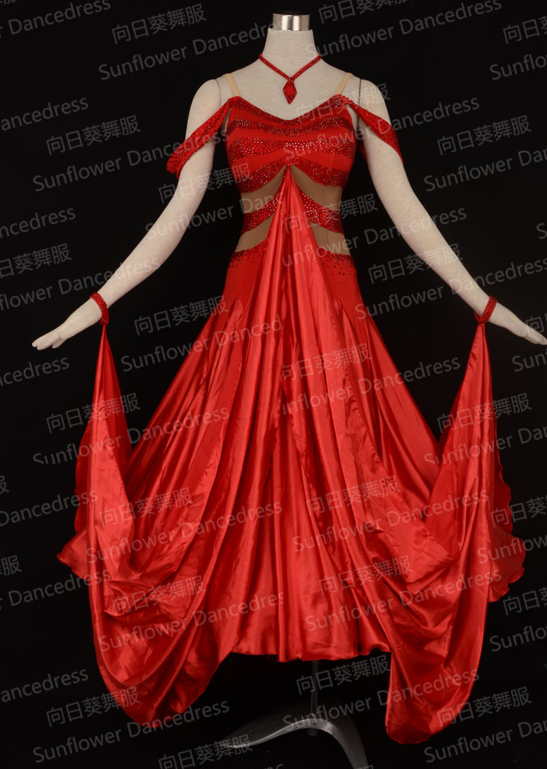 New Competition organza ballroom Standard dance dress,ballroom dance competition dresses, dance wear,Waltz,red, sexy V nack
