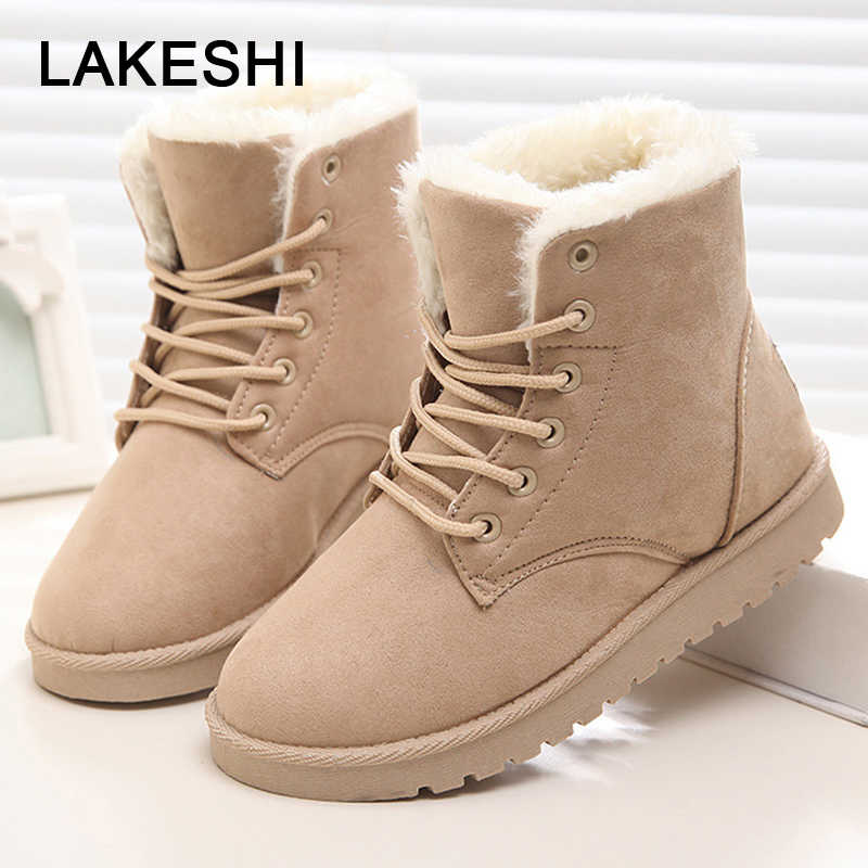 Women Winter Boots Warm Fur Snow Woman Boots 2019 Round Toe Winter Women Shoes Lace Up Suede Cotton Ankle Boots Plus Size 43