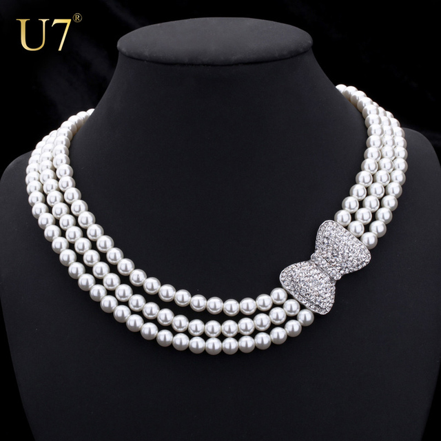 U7 Lovely Bowknot Necklace Women Fashion Jewelry Trendy Rhinestone Multilayers Simulated Pearl Necklaces N345