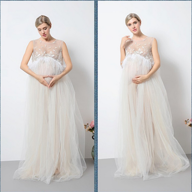 2018 New Maternity Photography Props Maternity Dresses Voile Maxi Dresses Sleeveless Pregnant Women Dress Pregnancy stylish strapless sleeveless ombre color maxi dress for women page 7