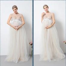 Új Maternity Photography Props anyasági ruhák Voile Maxi ruhák Ujjatlan terhes nők Dress Terhesség